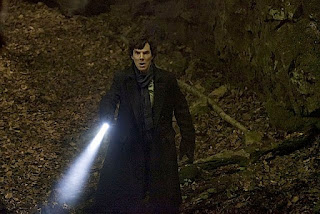 Benedict Cumberbatch as Sherlock Holmes faces the Hound in The Hounds of Baskerville