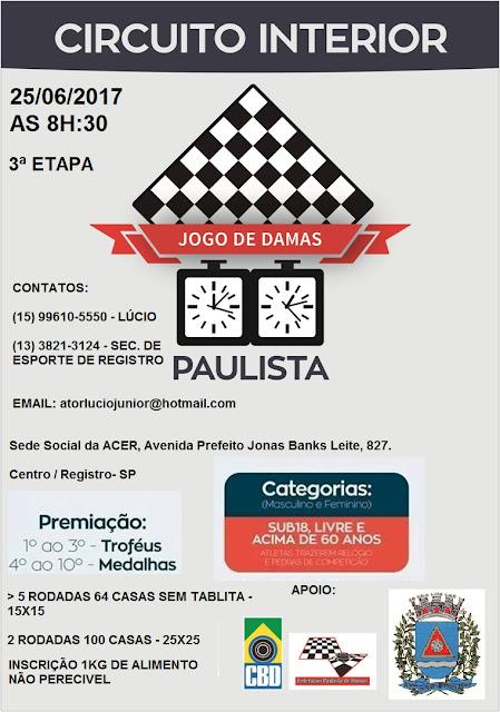 Registro-SP receberá a 3ª etapa do Circuito Interior de Damas