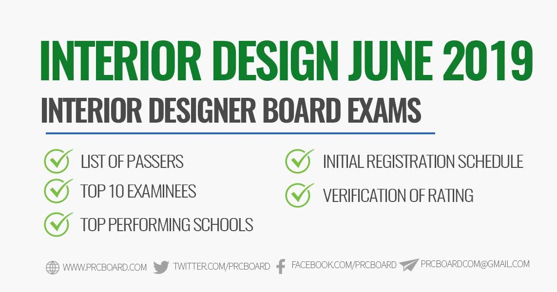Official Results June 2019 Interior Design Board Exam Results Prcboard Com