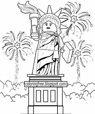 US pyrotechnics show statue of liberty firework printable coloring book pages for teenaged children