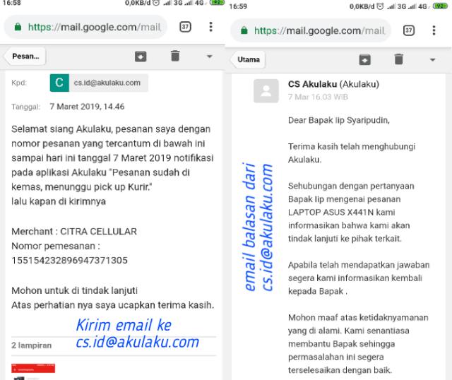 Mengirim email ke CS Akulaku