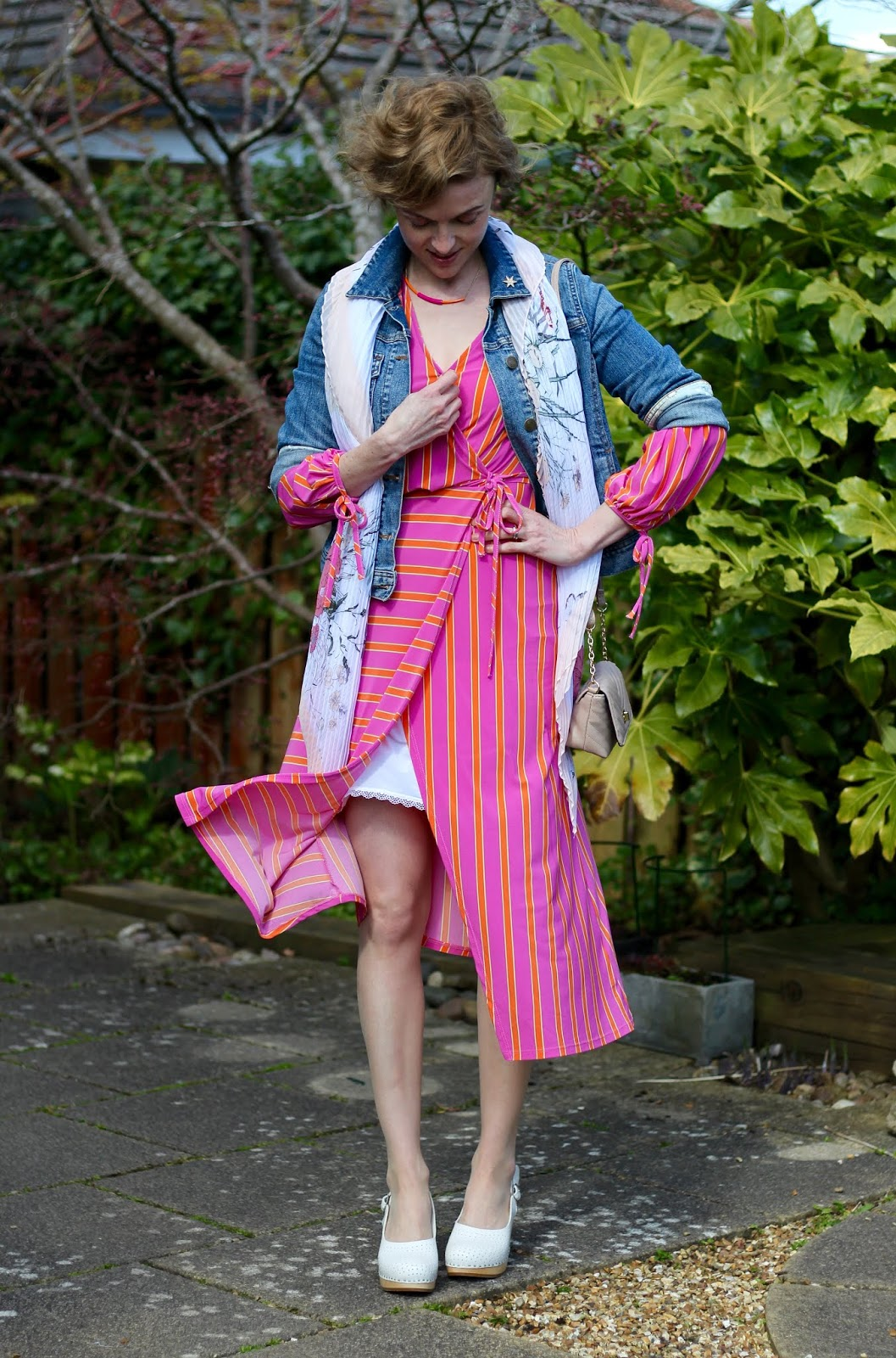 Neon pink and orange dress, denim jacket | Spring outfit | Fake Fabulous