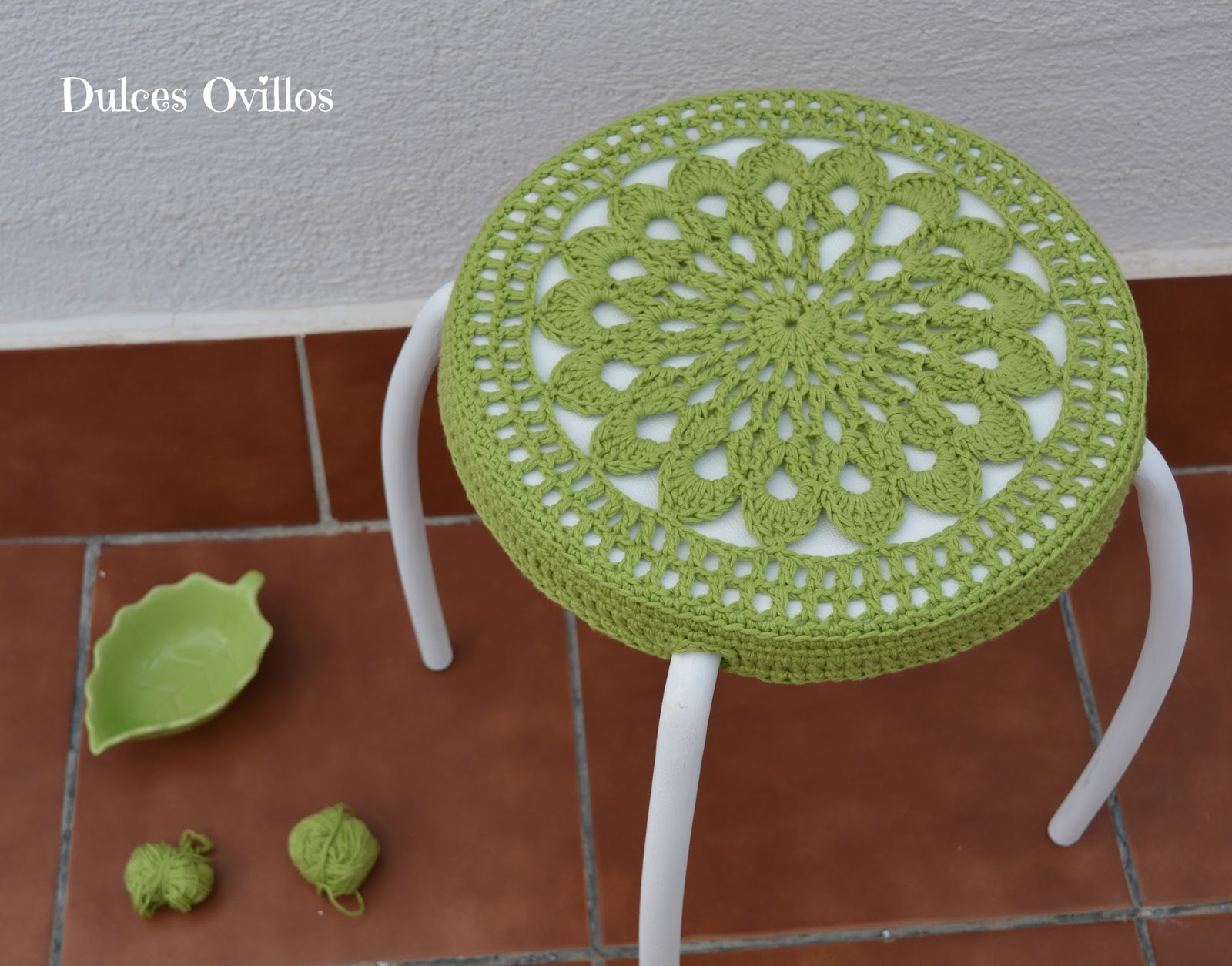 Funda de taburete a ganchillo crochet stool cover - Fundas para taburetes ...