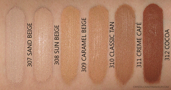 L'Oreal Infallible Total Cover foundation Swatches MAC Comparisons 307 308 309 310 311 312 NW25 NW30 NC42 NC45 NW45