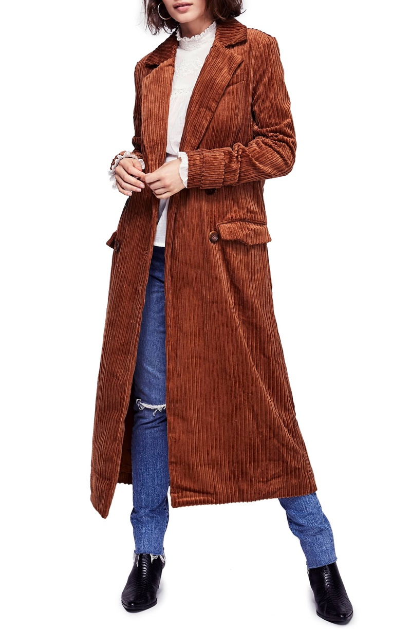 Free People Abbey Road Wide Wale Cotton Corduroy Duster Coat