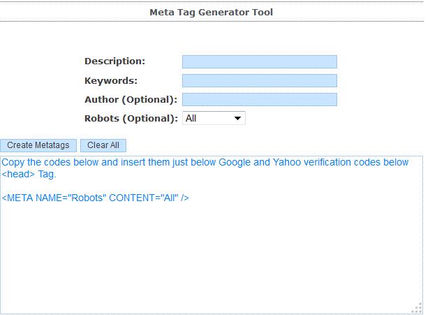 Image of Free meta tag generator tool