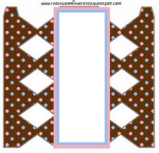 Pink and Light Blue Polka Dots in Chocolate  Free Printable Box.