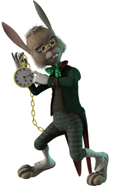 Cartoon Rabbit dressed in suit with watch on chain