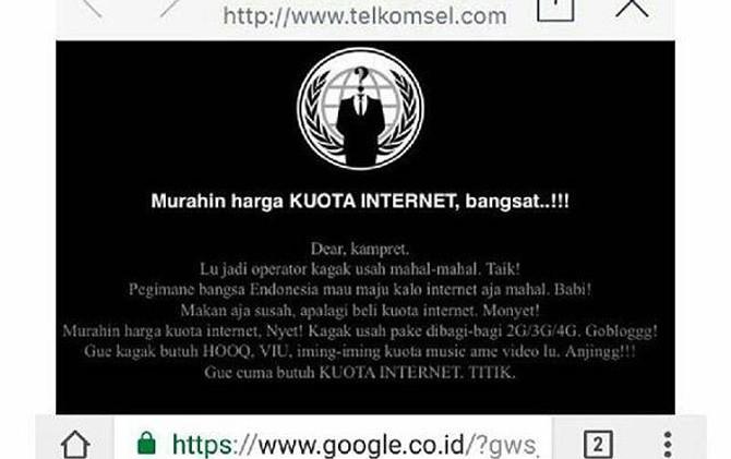Situs Operator Telkomsel Di Retas Oleh Hacker