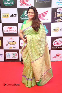 Actress Kushboo Pictures in Green Saree at Mirchi Music Awards South 2015  0010