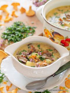 zupa z grzybami, zupa ze swiezych grzybow, wielogrzybowa, kartoflanka z grzybami, kurki, z kurkami, obiad