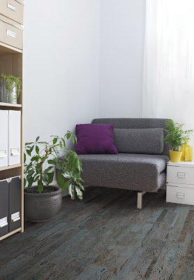 Gray hard surface flooring is stylish & contemporary in this room