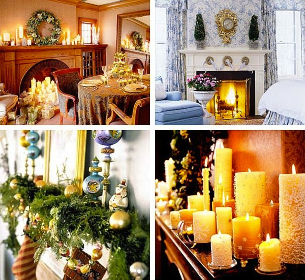 ideas for Christmas candles mantel fireplace decoration