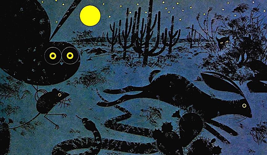 a Charles Harper illustration of a desert at night