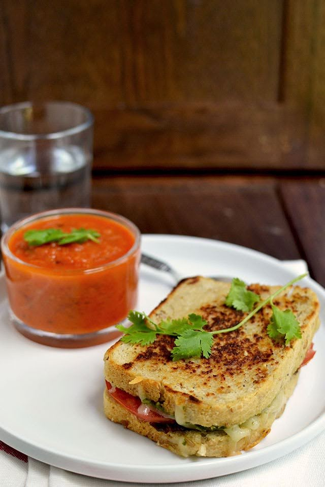 Indian Style Grilled Cheese with Tomato Soup
