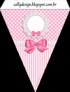 Banderines de Minnie con Rayas Rosa para imprimir gratis.