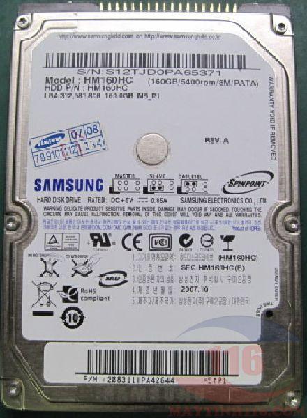 Cứu dữ liệu ổ cứng laptop samsung HM160HC