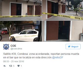 Balacera en un bar de la Condesa deja un muerto en la Ciudad de Mexico