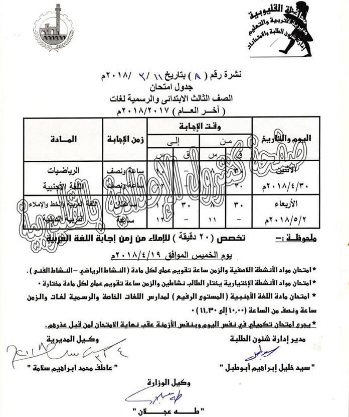 جدول امتحانات الصف الثالث الابتدائي 2018 الترم الثاني محافظة القليوبية