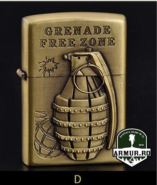 bricheta grenada free zone tip zippo cu benzina Army, Military