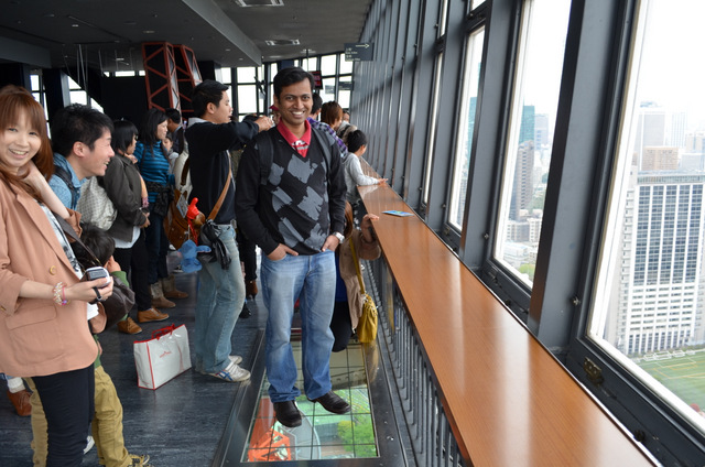 Standing on top of the look down window in Tokyo Tower