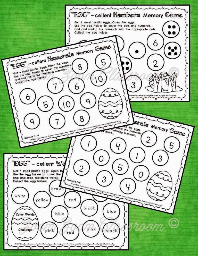 Match letters, numbers, and shapes memory games!  Here's a fun way for children to practice letters, numbers and shapes while developing memory at the same time.  Have students cover the letters, numbers, or shapes on the sheets with plastic egg halves or milk caps.  Children work in pairs to play the games.  They take turns removing two milk caps or egg halves.  When a child reveals a match, he/she keeps the milk caps or egg halves.  Then it's the next player's turn to try for a matching pair.