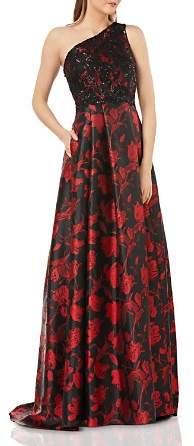 Carmen Marc Valvo Embellished One-Shoulder Ball Gown