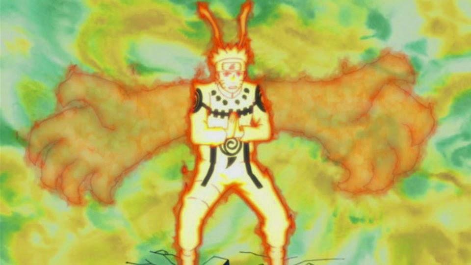 Naruto controlando el Chakra del Kyubi