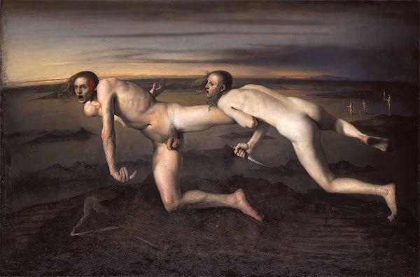 Odd Nerdrum, Woman kills injured man, Macabre Art, Macabre Paintings, Horror Paintings, Freak Art, Freak Paintings, Horror Picture, Terror Pictures