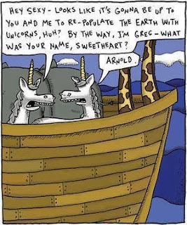 Funny unicorns Noah's ark cartoon - Hey sexy - looks like it's gonna be up to you and me to repopulate the earth with unicorns, huh? By the way, I'm Greg - what's your name, sweetheart? Arnold