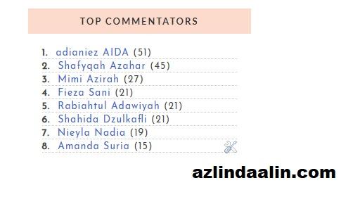 PEMENANG TOP KOMENTAR BLOG AZLINDA ALIN BULAN OKTOBER 2018