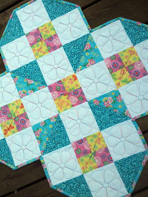 Around the Block Table Topper Free Tutorial designed by Roseann from Rosebud's Cottage using the Peggy Sue collection