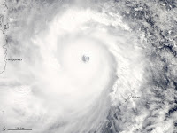Super Typhoon Haiyan as it headed toward landfall in the Philippines, where it caused enormous destruction. (Credit: NASA) Click to Enlarge.