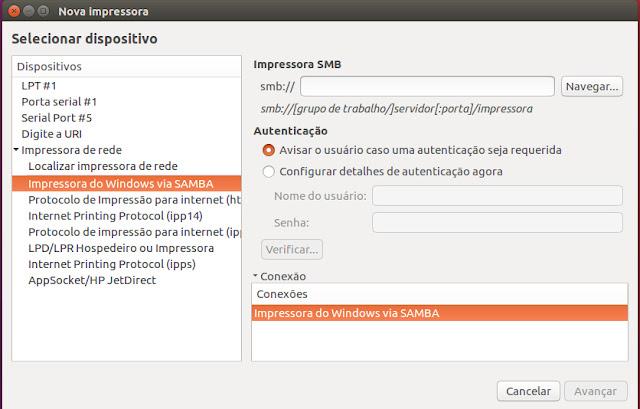 Adicionando impressora do Windows no Ubuntu