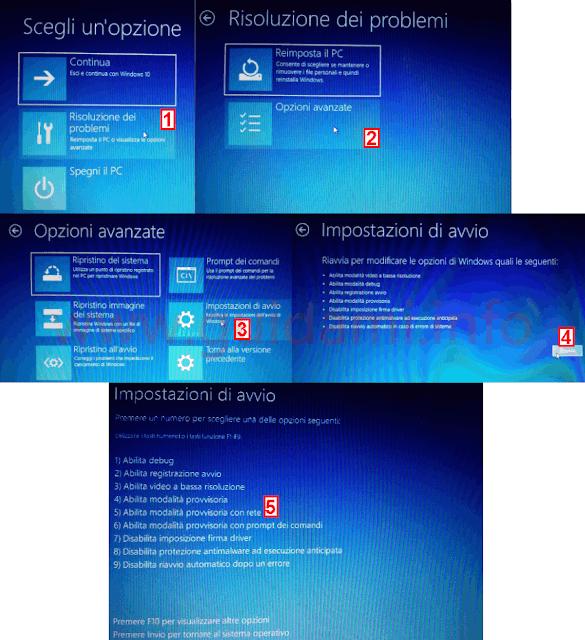 Schermata di avvio avanzato Windows 10 per avviare in modalità provvisoria