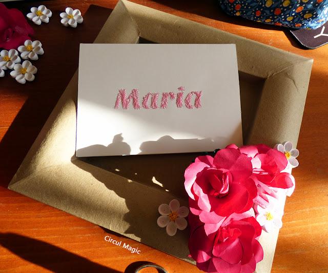 Maria - nume cusut manual pe hartie cartonata