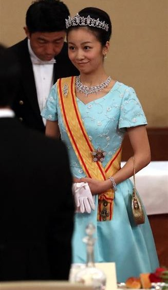 Crown Prince Naruhito and Crown Princess Masako, Japan's Prince Akishino and Princess Akishino, Princess Mako and Princess Kako of Akishino attended the Banquet Dinner at the Imperial Palace.