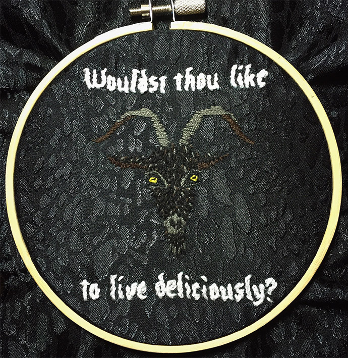 Black Phillip embroidery hoop by Make it Sew Design