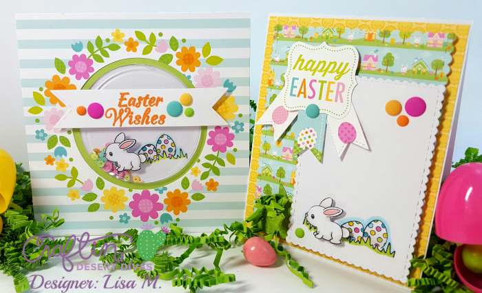 This is a picture of two Easter cards featuring a bunny and eggs in grass.