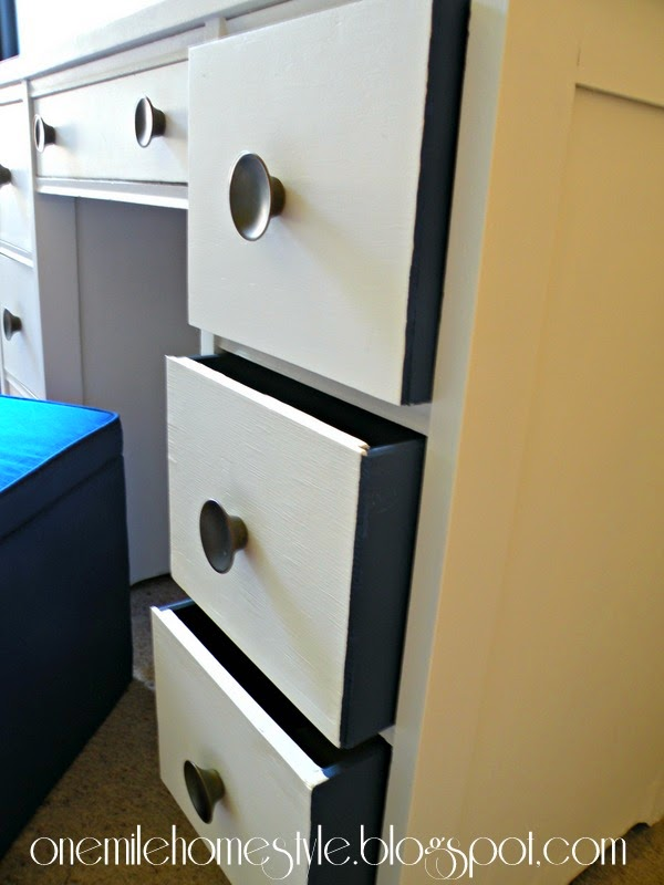 Refinished Kid's Desk - White with Navy Drawers