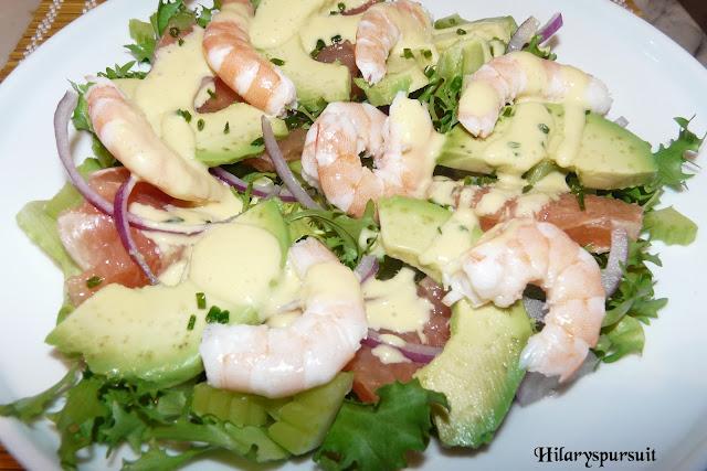 Salade de crevettes et son aïoli de citron vert