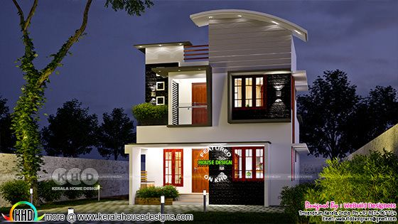 Small double storied house in night view