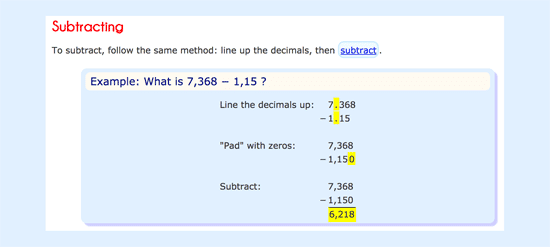 Explanation on how to subtract decimals