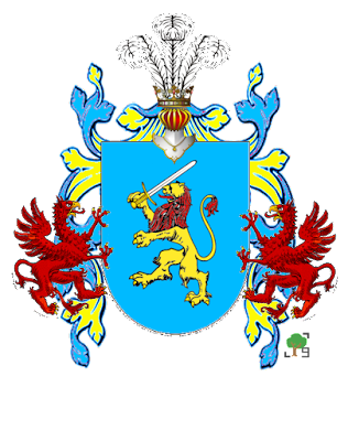 niebieski herb lew z mieczem