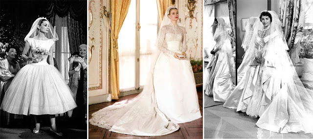 Audrey Hepburn, Grace Kelly, Elizabeth Taylor as Brides
