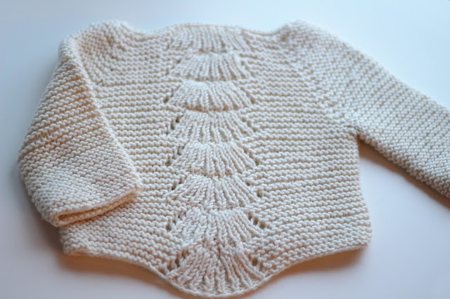 handmade diy knitting handknit sweater camilla babe quince and co fan pattern garter stitch merino wool baby sweater