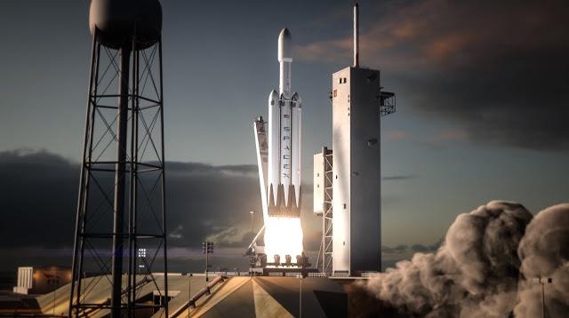 Tên lửa hạng nặng Falcon Heavy dự kiến được phóng vào tháng 11 tới. Hình ảnh: SpaceX.