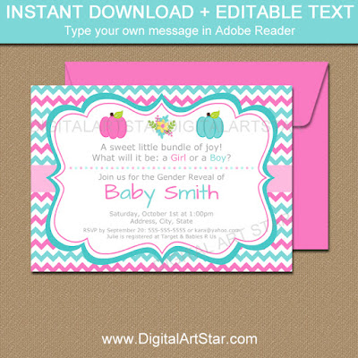 Pumpkin gender reveal invitations with pink and aqua chevron