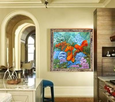 Картина маслом Золотые рыбки талисман фен шуй для счастья и любви