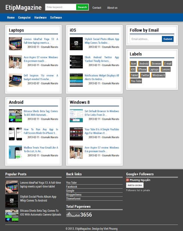 downloads etip magazine blogger responsive templates. Black Bedroom Furniture Sets. Home Design Ideas